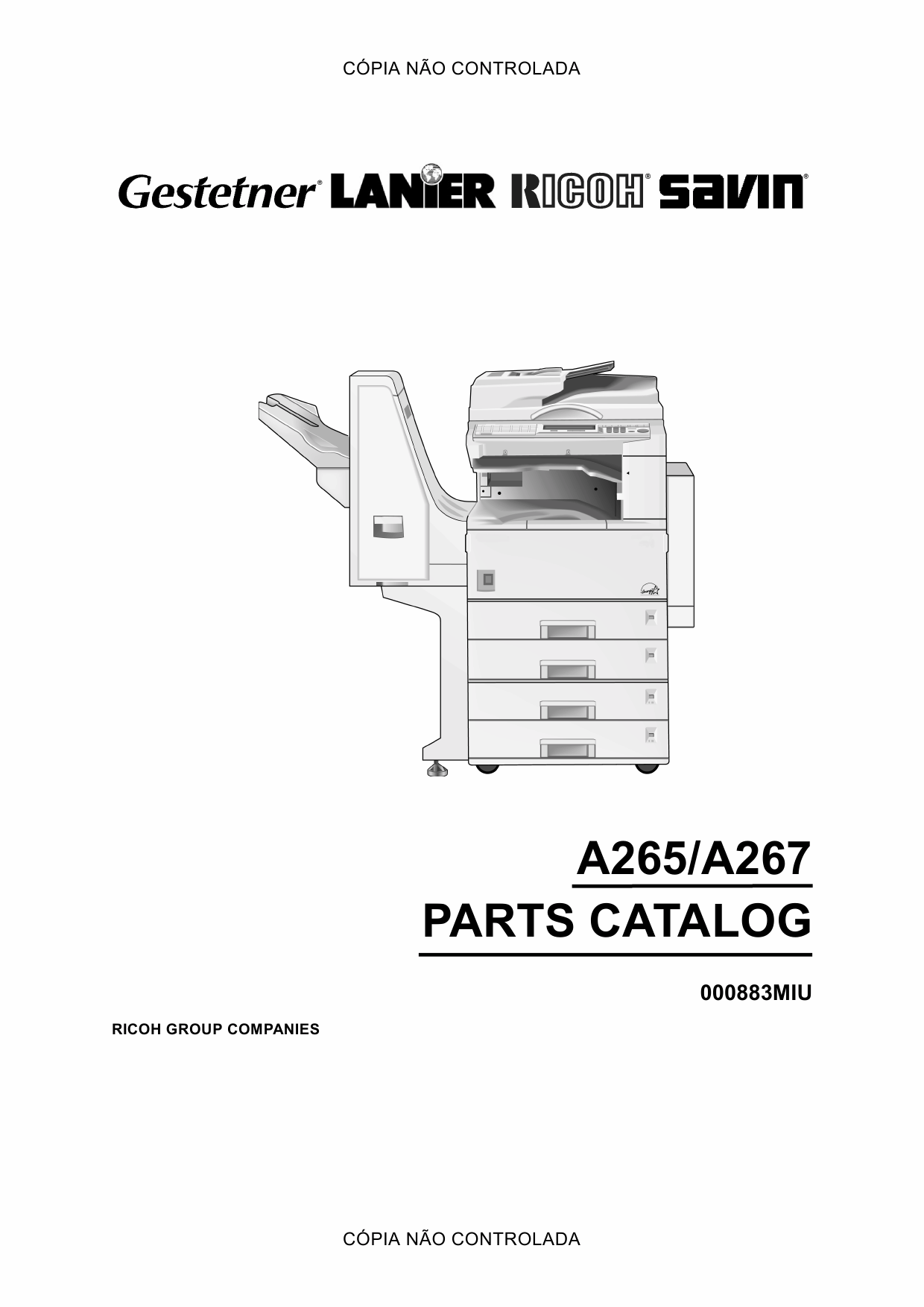 RICOH Aficio 220 270 A265 A267 Parts Catalogl